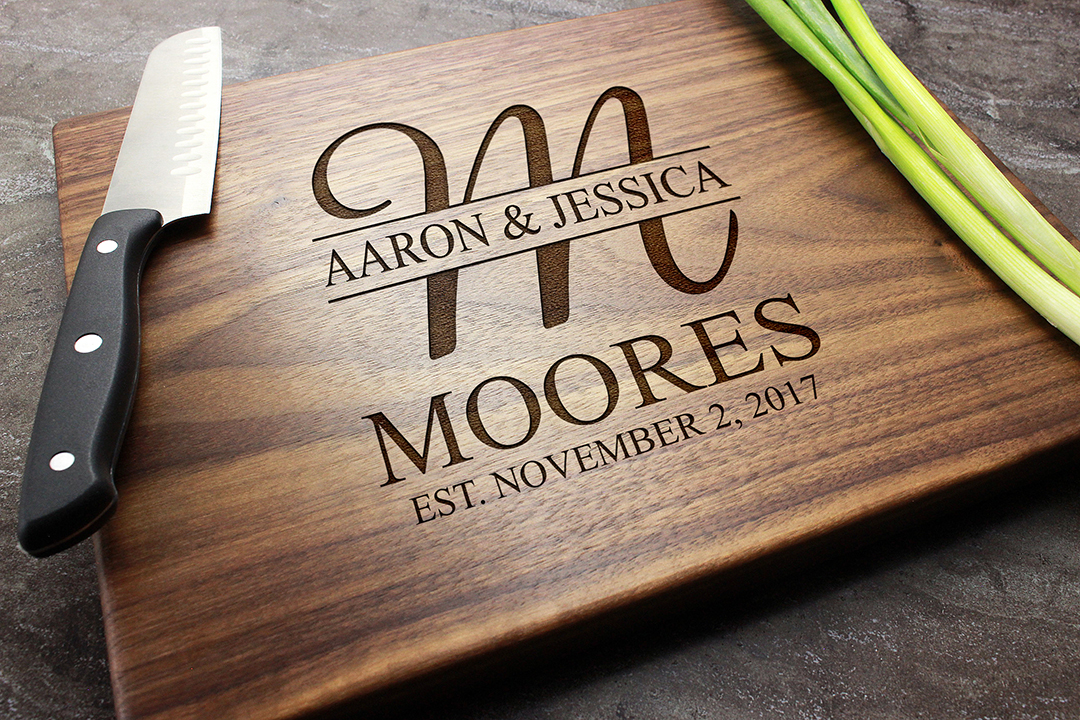Personalized Engraved Cutting Board Custom Wedding Anniversary Engagement Real Estate Closing Gift 27 Walnut Artisan Gallery