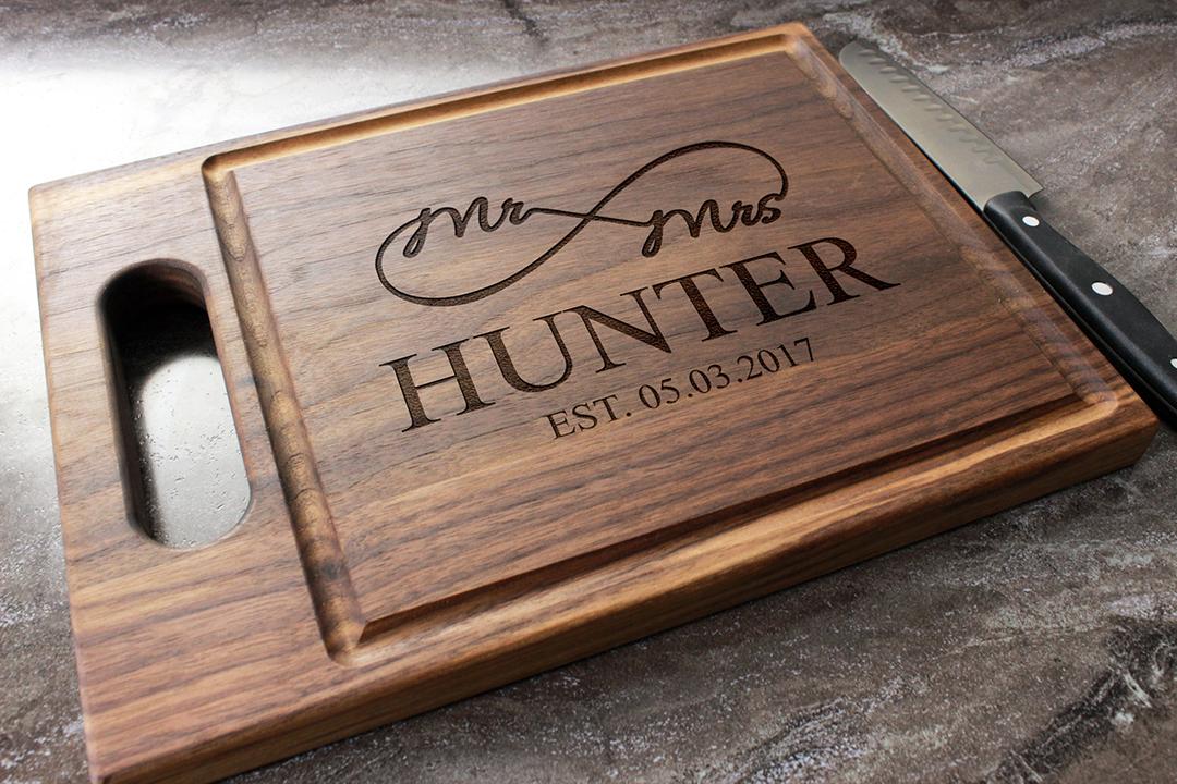 Personalized Engraved W Handle Cutting Board Custom Wedding Housewarming Anniversary Engagement Gift 39 Walnut Artisan Gallery